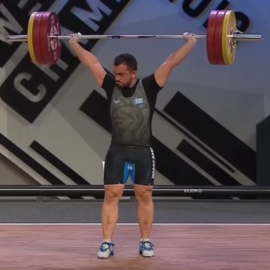 2.3.2 …The athlete returns his / her feet to the same line parallel to the plane of the trunk and the barbell